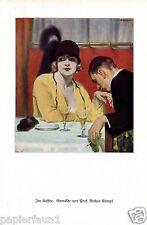 Café Kaffeehaus Handkuss Druck Arthur Kampf 1927 Gottbegnadetenliste GDK Kaffee