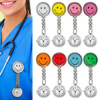 9 Colors Lovely Smile Face Nurse Quartz Pendant Clip On Fob Brooch Pocket Watch
