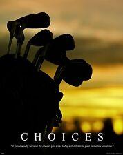 Golfing Motivational Poster Art Print Golf Balls Shoes Clubs Tiger Woods  MVP241