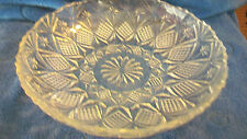 VINTAGE CRYSTAL ROUND SERVING BOWL, DIAMOND AND FLOWERS, SCALLOPED EDGES