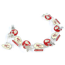 NFL Football Kansas City Chiefs AFC Silver Charm Bracelet