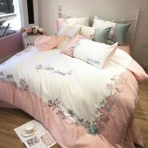 Luxury Silk Cotton Bedding Set Embroidery Princess Bed Set Duvet Cover Bed Sheet