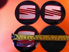 SEAT BLACK/RED ALLOY WHEELS CENTRE LOGO STICKER SET (4) Face DIAMETER 90 mm