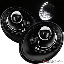 For 06-10 Beetle Black Half Circle DRL LED Projector Headlights Upgrade