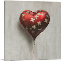 ARTCANVAS Bandaged  Balloon Heart Canvas Art Print by Banksy
