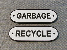 Garbage and Recycle Wood Sign Set Black & White