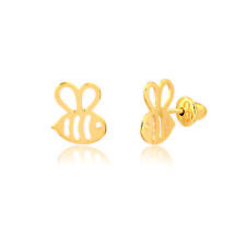 14k Solid Gold Bee Shaped Push Backs Stud Earrings for Little Girls Toddlers