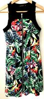 Portmans Women's Dress Sleeveless Floral Multicoloured Exposed Front Zip Size 6