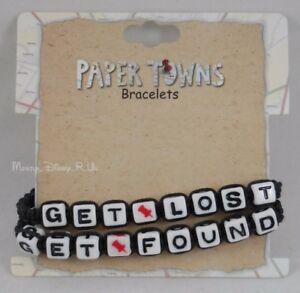 New John Green Paper Towns 2 Pk Get Lost Found Bead Cord Bracelet Wristbands