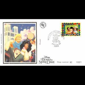 FDC soie (Disney) - 50e anniversaire de l'UNICEF, oblit Paris 27/11/96