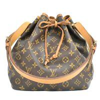 Authentic Louis Vuitton Monogram Drawstring One Shoulder Hand Bag Petit Noe LV