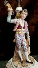 TOP QUALITY Vintage PAIR German HP Bisque Figurine Lamps MATADOR Man Lady WOW!