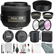 Nikon AF-S DX NIKKOR 35mm f/1.8G Lens, Deluxe Accessory Bundle W/ 58mm Wide-a...