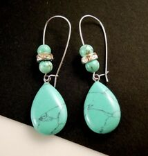 Turquoise Tear Drop Gemstone Dangle Earrings with Gemstone Beads #1372