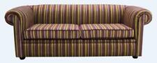 Chesterfield 1930's 3 Seater Riga Multi Stripe 08 Velvet Fabric Sofa Settee 2 Cu