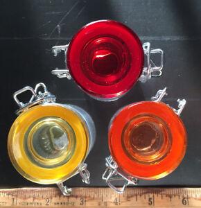 3-6-24 MINI 1.7oz ROUND Glass Jar Spice Storage Cannister Flip Lid No-Odor Seal