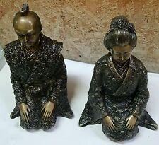 Pair of Bronze Japanese Samurai & Geisha Kneeling Statues