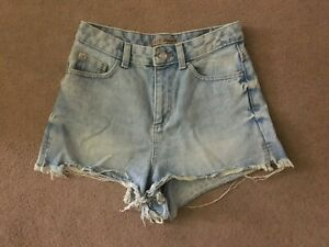 PRIMARK DENIM & CO FRAYED LIGHT BLUE WASH DENIM SHORTS SIZE UK 8