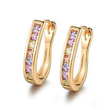 Lovely Colorful Crystal Gemstone Yellow Gold Filled Huggie Women Party Earrings