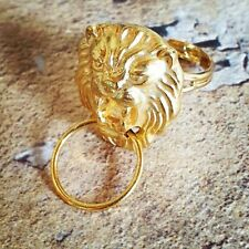 Unique GOLD LION DOOR KNOCKER RING handmade ADJUSTABLE vintage MINIATURE kitsch