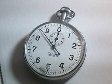 CLEAN Vintage Wakmann Swiss 7J Military Timer Open Face Chronograph Pocket Watch