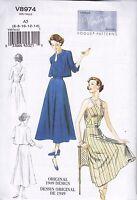 Vogue Vintage 1950 Sewing Pattern Misses' Jacket Dress & Belt Size 6 - 22 V8974