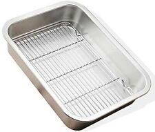 2 x Stainless Steel Polished Baking Trays 31 cm & 40 cm with Rack Roasting Bake