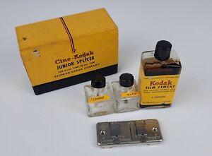 Eastman Cine Kodak Jr Splicer with Box, Kodak Film Cement Bottles Good Condition
