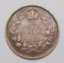 1916 Five Cents Silver VF ** Nice HIGH Grade BETTER Date King George V Canada 5¢