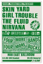 Nirvana - POSTER - Bleach Tour live concert - Skin Yard - sub pop - Kurt Cobain