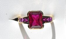 9ct Yellow Gold Created Ruby ring