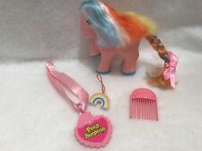 Vintage Remco Pretty Pony 1989 Pink Rainbow Hair Necklace Comb