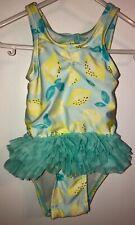 Cat & Jack Baby Girls Size 6-9 Months Blue Swimsuit Bathing Suit Lemon Ruffle