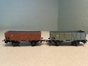 HO - Marklin 311 Vintage Open Goods Truck Lot Of 2, Both Brown And Grey Version
