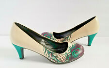 T.U.K. Women's Peacock Heels Sz 11 Ivory Turquoise TUK Pumps Colorful Shoes