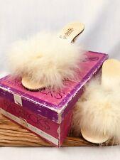 Vintage Fredericks of Hollywood Maribou Feathered Heels Glamor Boudoir Ivory 5/6