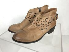 River Island Tan Leather Ankle Boots With Studs And Buckle Size 4 (EU 37)
