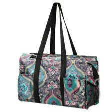 Wireframe Utility All Purpose Tote Bag for Shopping Travel Laundry Blue Paisley