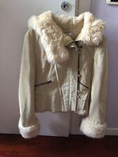 Next giacca vera pelle finta pelliccia 44 real leather faux fur jacket UK 14