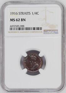 Mazuma *N398 NGC Straits Settlements King George V 1916 1/4 Cents MS62BN
