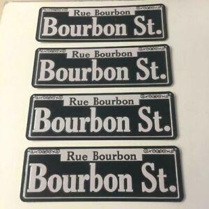 "Bourbon St. ""Rue Bourbon""  New Orleans Tin Street Sign Decor Size 15 x 5"