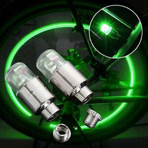 4pcs Green Car Wheel Tire Tyre Air Valve Stem LED Light Cap Cover Accessories