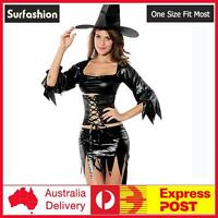 Womens Sexy Witch Mama Black Fancy Dress Halloween Costume #8340