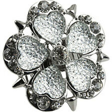 NWT Guess Silver Metal-Clear Stones-Studded Flower Shaped Stretch Ring