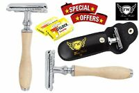 Men's Traditional Vintage DE Safety Razor Wood & 10 Double Edge Shaving Blades