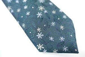 BAR III 3 10004860100 FLORAL FLOWERS GREEN BLUE SILK BLEND 2.5 INCH NECK TIE NWT