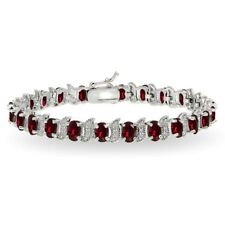 Sterling Silver Created Ruby & White Topaz 6x4mm Oval and S Tennis Bracelet