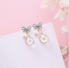 Korean new fashion jewelry mat green ribbon pearl flower drop dangle earrings