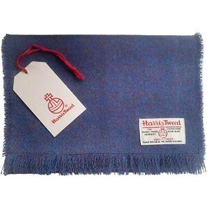 Harris Tweed Indigo Pure Wool Luxury Unisex Fringed Scarf
