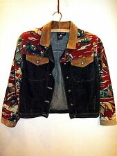 CAROLE LITTLE~Vintage 50's Western Barkcloth & Glass Bead Denim Jacket S/P